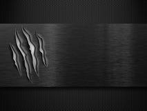 Zwarte beschadigde metaalplaat over net royalty-vrije stock afbeelding