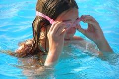 Zwarte beschermende brillenclose-up Royalty-vrije Stock Foto's