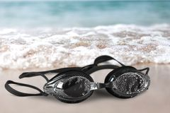 Zwarte beschermende brillenclose-up Stock Foto's