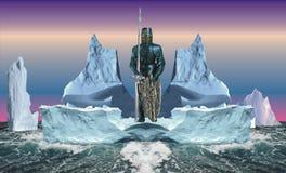 Zwarte bevelhebber van een eskader van ijsbergen Royalty-vrije Stock Foto