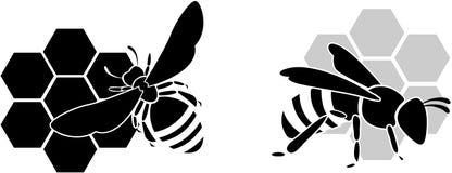 Zwarte bijen en honing vector illustratie