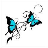 Zwarte blauwe stammen van de vlindertatoegering Stock Afbeeldingen