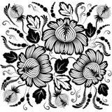 Zwarte bloemen op een witte achtergrond Stock Afbeelding