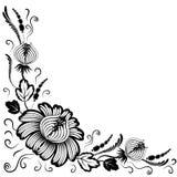 Zwarte bloemen op een witte achtergrond Royalty-vrije Stock Afbeeldingen