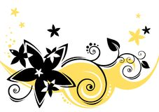 Zwarte bloemenachtergrond royalty-vrije illustratie