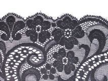 Zwarte bloemenkantband Royalty-vrije Stock Afbeeldingen