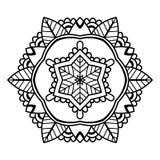 Zwarte Bloemenmandala Royalty-vrije Stock Fotografie