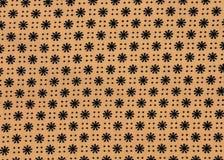 Zwarte bloemtextuur op de Stof van de Room Stock Foto