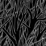 Zwarte bomen (naadloze vector) Stock Afbeelding