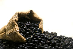 Zwarte bonen in de zak van de hennepzak op witte achtergrond Royalty-vrije Stock Foto's