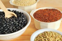 Zwarte bonen, linzen, en quinoa Royalty-vrije Stock Afbeelding