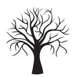 Zwarte boom zonder bladeren Royalty-vrije Stock Foto's