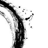 Zwarte borstelslag in de vorm van een cirkel Tekening in de met de hand gemaakte techniek die van de inktschets wordt gecreeerd royalty-vrije illustratie