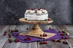 Zwarte boscake, of de traditionele cake van Oostenrijk schwarzwald van donkere chocolade en morellen royalty-vrije stock foto's