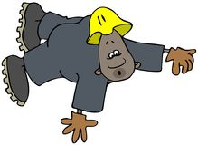 Zwarte bouwvakker in overtrekken het vallen stock illustratie