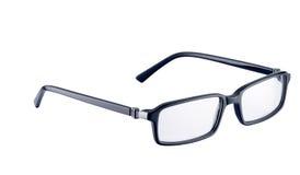Zwarte bril op wit met weg Stock Afbeelding