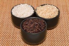Zwarte, bruine en witte rijst Royalty-vrije Stock Foto's