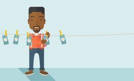 Zwarte buisnessman hangt zijn geld Stock Fotografie