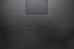 Zwarte bureau bedrijfsachtergrond met digitale tablet Stock Afbeelding