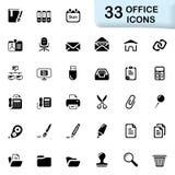 33 zwarte bureaupictogrammen Royalty-vrije Stock Foto