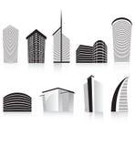Zwarte bureauzaken die moderne architectuur bouwt Stock Afbeeldingen