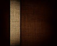 Zwarte canvastextuur en beige strook als achtergrond Stock Afbeeldingen