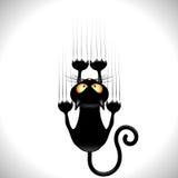 Zwarte Cat Scratching Wall stock illustratie