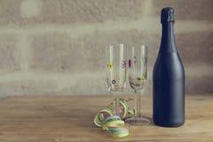 Zwarte champagnefles Royalty-vrije Stock Fotografie