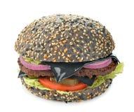 Zwarte cheeseburger royalty-vrije stock afbeelding