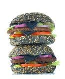 Zwarte cheeseburger stock foto's