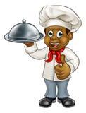 Zwarte Chef-kok Cartoon Character met Schotel Stock Foto's