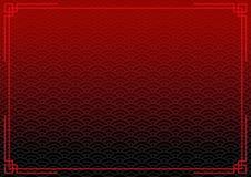 Zwarte Chinese achtergrond met rode grens Royalty-vrije Stock Foto's