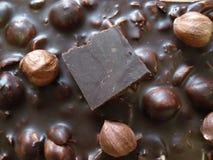 Zwarte chocolade met hazelnoten Een stuk van chocolade op een chocoladereep Stock Afbeelding