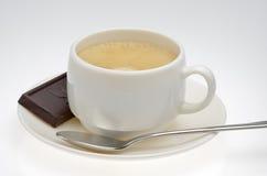 Zwarte coffe whith chocolade Stock Foto