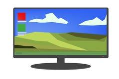Zwarte computer/monitor met heldere Desktop en pictogrammenillustratie stock afbeelding