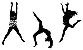 Zwarte contouren van dansende meisjes op een witte achtergrond stock illustratie