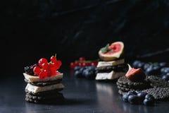 Zwarte crackers met kaas en bessen Stock Fotografie
