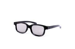 Zwarte 3D glazen voor het letten van op films Stock Afbeeldingen
