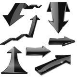 Zwarte 3d pijlen Glanzende pictogrammen Royalty-vrije Stock Afbeelding