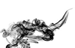 Zwarte damp abstracte textuur over wit stock foto