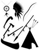 Zwarte de objecten van silhouet vastgestelde pictogrammen Amerikaanse vectorillus van Indiërs Stock Fotografie