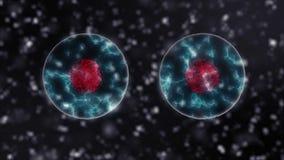 Zwarte de versieachtergrond van de celafdeling in 4K 3D video van het medische en wetenschapsconcept stock illustratie