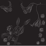 Zwarte decoratieve achtergrond met fresia en narcis vector illustratie