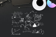 Zwarte Desktop met bedrijfsschets Stock Afbeeldingen