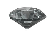 Zwarte diamant die op wit wordt geïsoleerdo Royalty-vrije Stock Foto's