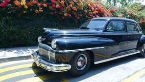 Zwarte die Desoto-limousine in San Isidro, Lima wordt geparkeerd stock afbeeldingen