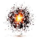 Zwarte die explosie op witte achtergrond wordt geïsoleerd Royalty-vrije Stock Afbeelding
