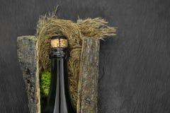 Zwarte die het glasfles van Champagne in boomschors met neiging en mos op zwarte steenachtergrond wordt geplaatst royalty-vrije stock afbeeldingen
