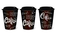 Zwarte die koffiekop met hand-tekeningen op het thema wordt behandeld Royalty-vrije Stock Afbeelding