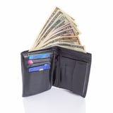 Zwarte leerportefeuille met geld Stock Afbeelding